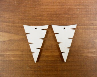 """Wood Earring Triangle Shapes 1 7/8"""" H x 1 3/8"""" W Laser Cut Wood Jewelry Cutouts - 12 Pieces"""