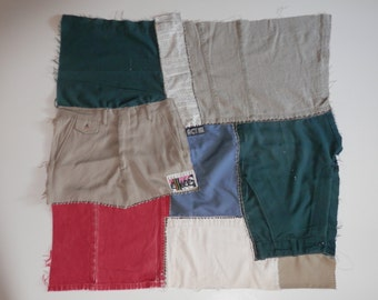 """2.4 lb 3/ 28"""" Square Unfinished Panel Pcs Red White Blue Khaki Denim Recycle Fabric Patches Remnant Ecofriendly Craft Project Making Destash"""