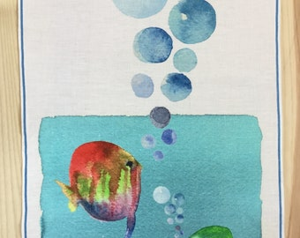 Linen panel. Wall decoration. Watercolor Print on linen