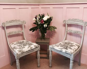 NOW SOLD Paris Grey Regency Chair in Toile de Jouy