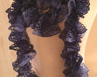 "New Hand Crocheted Ruffled Scarf Extra Long 114"" Lt. Blue/Dk. Blue Handmade"