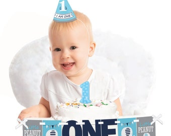 Blue Elephant - 1st Birthday Boy Smash Cake Decoration Kit - Boy Elephant High Chair Banner - Printed on Heavy Cardstock