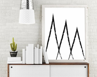 Geometric Print, Mountain Print, Minimalist Poster, Triangle Art, Abstract Painting, Black and White Print, Wall Printable Art, Wall Decor
