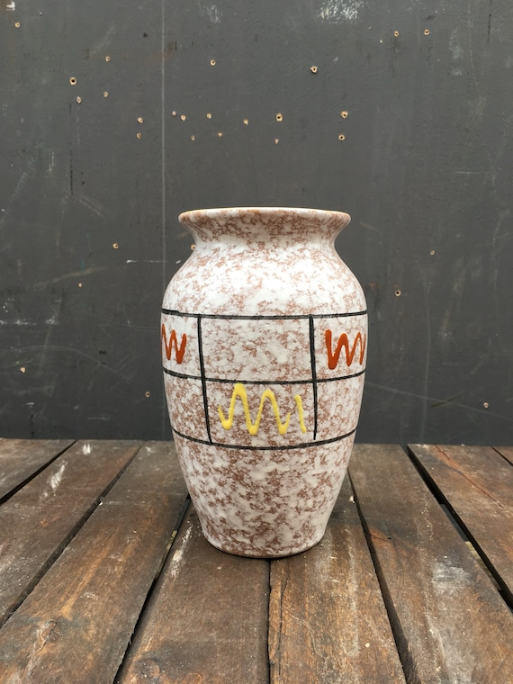 Vintage 1950's Foreign 238-18 West German Pottery Vase Fat Lava