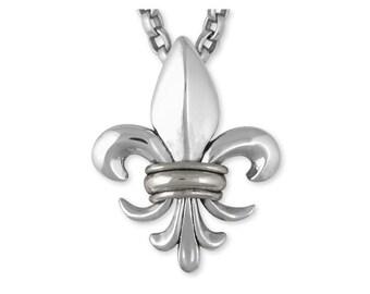 Fleur De Lis Pendant Jewelry Sterling Silver Handmade Flower Pendant FD15-S