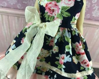Blythe Dress - Apricot & Navy Floral
