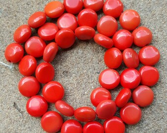 """Natural Gemstone 10mm Red Coral Coin Beads - 15.5"""" Strand"""