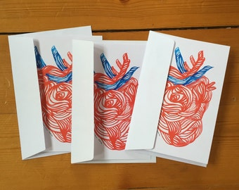 Corazón Greeting cards, Set of THREE FOLDED CARDS, postcards, stationary, print, illustration, drawing, art