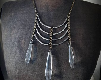 Ribs and Daggers - Antique Chandelier Prisms Silver and Brass