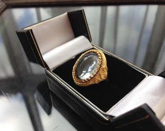 Vintage Ornate Gold Tone Faux Crystal Cabochon Cocktail Ring Adjustable
