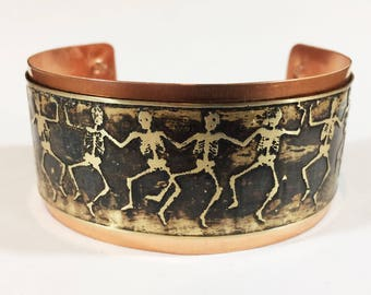 Skeleton Cuff Bracelet, Etched Brass Cuff, Dancing Skeletons, Brass on Copper Layered Cuff - Free Domestic Shipping