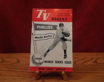 2 1950 Philadelphia World Series Phillies TV Digests, 1 Fighting Phils