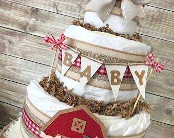 Farm Diaper Cake, Farm Baby Shower Centerpiece, Farm Theme Decorations