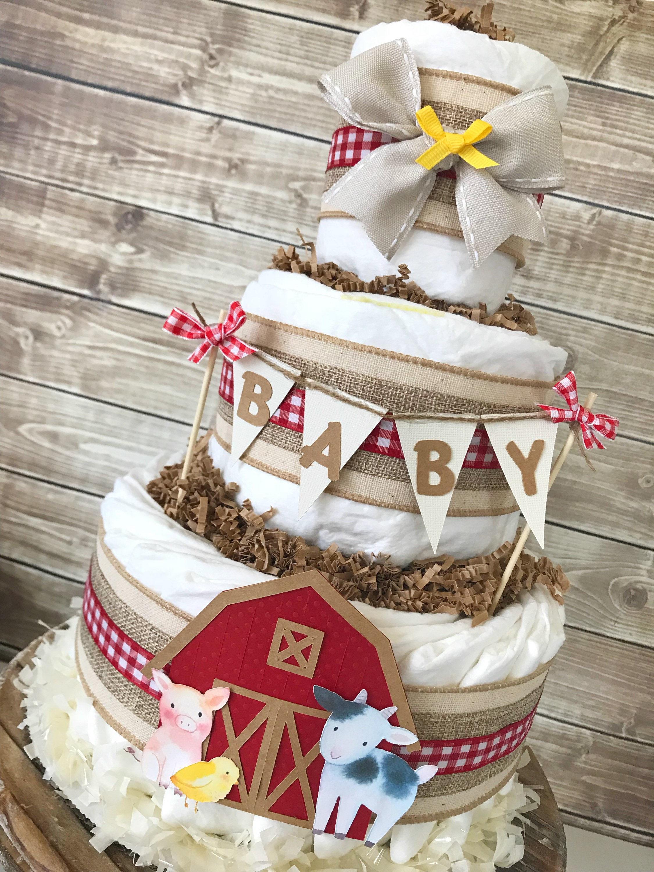 Farm Diaper Cake Farm Baby Shower Centerpiece Farm Theme