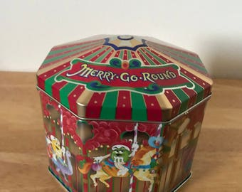 "Merry-Go-Round* Decor M & M Empty Carousel Style Tin/Canister* 5"" T X 6"" W  1997"