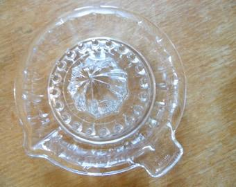 """Press manual citrus glass cut transparent, vintage 70's, annotation """"Reims"""" France, vintage, retro chic"""