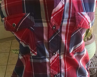Shirt apron/ blue and red plaid