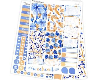 Blue Floral mini kit Planner Stickers for Erin Condren Life Planner // #MK-47