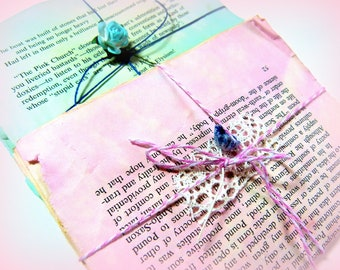 Vintage Book Pages, Ephemera Pack, Scrapbook Paper, Vintage Pages, Dyed Book Pages, Pink or Blue