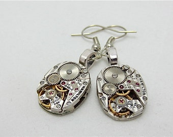 Hamilton  - Steampunk Earrings - Watch Movements -  Repurposed art
