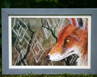 Fox illustration A4 poster