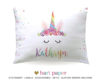 Rainbow Unicorn Horn Pillowcase Pillow Case Cover Standard 20 x 30 Bedroom Bedding Bed Gift Name Kids Teen Girl Personalized Custom Sleeping