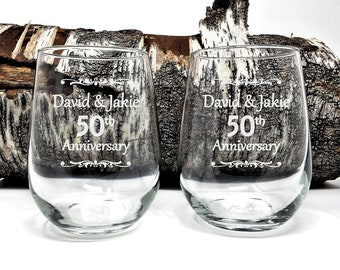 Personalized 50th Anniversary Stemless Wine Glasses 17 oz. Engraved Anniversary Gift Wedding Favors Guest Take Home Keepsake Memento