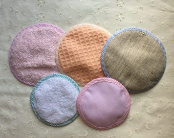 Special test set: 5 pads remover washable mixed cotton and linen + drying bag. Makeup removal pads. Special