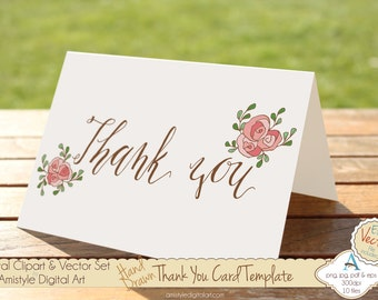 Thank You - Pink Rose - Hand Drawn Printable  Greeting Card Template, Clipart & EPS Vector Art Set - Instant Digital Download - 19447