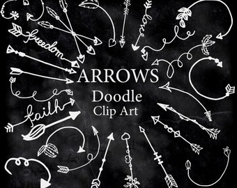 "Chalkboard Arrows Clipart: ""DOODLE CLIPART"" Arrow clip art Chalk Arrow Tribal Clipart Arrows Graphics Hand Drawn Arrows Diy elements"