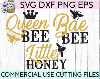 Queen Bee Matching Set Of 3 svg eps dxf png Files for Cutting Machines Cameo Cricut, Mom & Me, Mama, Mother's Day, Funny, Cute, Wife Boss