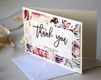 Unique Wedding Watercolor Thank You Cards, Custom Folded Wedding Thank You Cards, Bridal Shower Thank You Cards, Folded Thank You Stationery