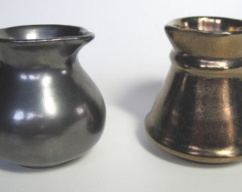 Two Ceramic Pottery Cream or Syrup Pitchers with Metalic Bronze and Pewter Finish by Benedictine Monks of Prinknash Abbey Gloucester UK
