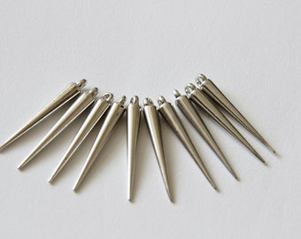 Metallic Spike Bead in Silver and Brass Finish-26 Count, Medium Size 34mm With Top Hoop- Jewelry Making Supply
