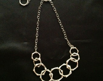 White House/Black Market Silver Ring Choker Necklace