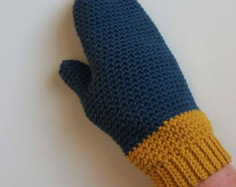 Crochet Pattern - Colour Block Mittens - women's gloves PDF Instant Download
