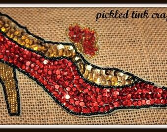 Vintage Red High Heel Shoe Applique