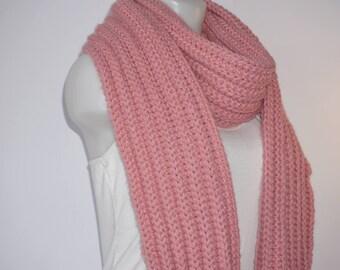 Knit scarf, long knit scarf, knit shawl, womens fashion accessory, chunky Knit scarf in pretty pink, cozy softness