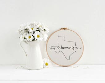 Home State | Hoop Art | Embroidery | Wall Decor | Hand Stitched | State Love | Custom State Art