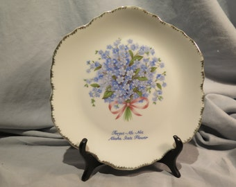 Forget Me Not. Alaska State Flower Collectors Plate, Vintage Souvenir Plate