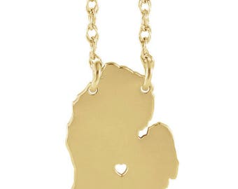 State Necklace with Heart, Michigan - All States Available - Sterling Silver, 10k Gold, 14k Gold