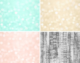 COMBO / FOUR PACK / 2ft x 2ft Vinyl Photography Backdrops for Product Photos Bokeh Gray Wood Floordrops Fl77