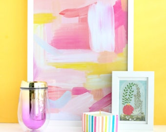 """Pink and Yellow Abstract Art Print - Large Scale art print 12"""" by 18""""  - Original handprinted abstract art print"""