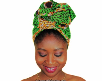 Green circles head wraps ,  African head wrap , African wrap scarf, African headwrap , Head wraps for women , African Head scarf , HT171