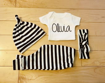 Gender Neutral Coming Home Outfit / Baby Girl / Baby Boy / Black White Stripes / Knot Hat / Headband