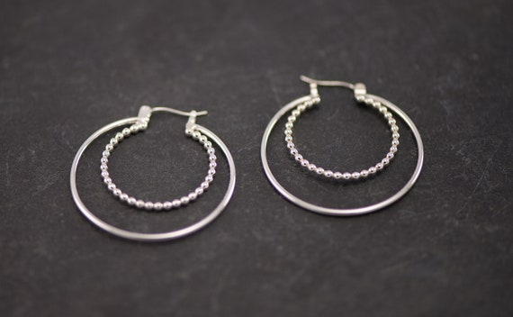 Silver Hoop Earrings- Silver Hoops- Large Hoop Earrings- Silver Dangle Earrings- Latch Back Hoops