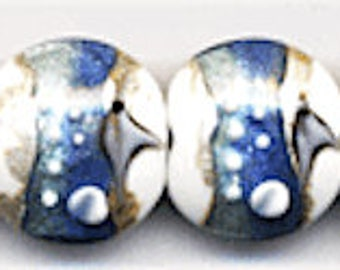 10 pieces 20mm Blue and White Lamp Work Glass Beads, Ocean Beads