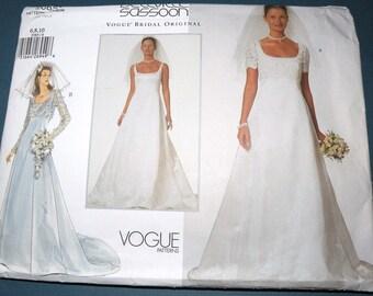 VOGUE Bridal Original Wedding Dress Pattern size 6-10 Uncut and Complete