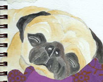 """Pug Print - Sketchbook Series - Watercolor & Collage - """"Mollycoddle"""""""