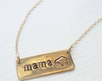 Mama bear custom name date monogram bar rose gold silver necklace